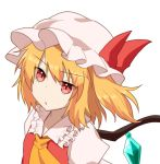 1girl :o bangs blonde_hair commentary_request cravat eyebrows_visible_through_hair flandre_scarlet frilled_shirt_collar frills hat hat_ribbon looking_at_viewer mob_cap one_side_up puffy_short_sleeves puffy_sleeves red_eyes red_vest ribbon shirt short_hair short_sleeves simple_background solo standing sugiyama_ichirou touhou upper_body vest white_background white_headwear white_shirt wings yellow_neckwear