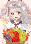 1girl :d animal_ear_fluff animal_ears apple aqua_nails autumn_leaves azur_lane basket blush bouquet braid breasts commentary eyebrows_visible_through_hair flower food fruit fruit_basket grapes hair_ribbon highres holding holding_basket long_hair looking_at_viewer medium_breasts multicolored multicolored_nails nail_polish neck_ribbon open_mouth pear persimmon pink_nails red_eyes red_neckwear ribbon sailor_collar school_uniform serafuku shirt side_braid side_ponytail smile solo thick_eyebrows tomato upper_body white_shirt yoyoshi_renga yuudachi_(azur_lane)