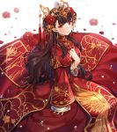 1girl alternate_costume azur_lane bracelet breasts brown_hair china_dress chinese_clothes circle_dress dress earrings eyebrows_visible_through_hair flower hair_flower hair_ornament hand_on_own_chest jewelry lips long_dress long_hair long_sleeves looking_at_viewer mamemena medium_breasts pelvic_curtain red_dress red_eyes simple_background smile solo tassel white_background yat_sen_(azur_lane) yat_sen_(coronal_afterglow)_(azur_lane)