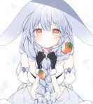 1girl animal_ears bangs bare_shoulders black_gloves blue_hair blush bow braid breasts brown_eyes carrot_hair_ornament closed_mouth commentary eyebrows_visible_through_hair food_themed_hair_ornament frown fur-trimmed_gloves fur_trim gloves hair_between_eyes hair_bow hair_ornament holding holding_hair hololive long_hair looking_at_viewer mattang rabbit_ears simple_background solo tearing_up tears twin_braids twintails usada_pekora very_long_hair virtual_youtuber white_background white_bow