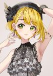 1girl :3 arm_up armlet armpits bangs beret black_collar black_headwear blonde_hair blush bracelet collar earrings eyebrows_visible_through_hair feathers floral_print frill_trim green_eyes grey_background hand_on_head hat highres idolmaster idolmaster_cinderella_girls jewelry lace lace_trim miyamoto_frederica plaid plaid_headwear plaid_shirt rum_raisin_(chihiromakita19) shirt simple_background single_wrist_cuff sleeveless smile solo upper_body