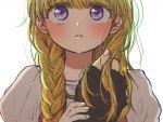 1boy 1girl blonde_hair blush braid camus_(dq11) dragon_quest dragon_quest_xi fingerless_gloves gloves holding holding_hair holding_hand long_hair looking_at_viewer solo_focus tsukuda0310 veronica_(dq11) violet_eyes