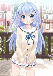 1girl :o absurdres bangs blue_eyes blue_hair blue_ribbon blurry blurry_background blush collarbone commentary_request depth_of_field eyebrows_visible_through_hair gochuumon_wa_usagi_desu_ka? hair_between_eyes hair_ornament highres kafuu_chino light_blue_hair long_hair long_sleeves looking_at_viewer mousou_(mousou_temporary) open_mouth pleated_skirt ribbon skirt sleeves_past_wrists solo two_side_up white_skirt x_hair_ornament