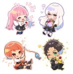 1boy 3girls :q absurdres brown_hair chibi claude_von_riegan closed_eyes closed_mouth dark_skin dark_skinned_male earrings envelope fire_emblem fire_emblem:_three_houses fish fishing_rod flower garreg_mach_monastery_uniform gift_bag green_eyes highres hilda_valentine_goneril holding holding_envelope jewelry leonie_pinelli long_hair long_sleeves lysithea_von_ordelia multiple_girls one_eye_closed open_mouth orange_eyes orange_hair pink_eyes pink_hair short_hair simple_background smile tongue tongue_out twintails uniform white_background white_hair yutsuchi