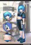 1girl abs bangs blue_eyes blue_hair blunt_bangs blurry blurry_background breasts commentary_request crop_top eyebrows_visible_through_hair eyes_visible_through_hair full_body gym hair_between_eyes highres holding holding_phone looking_at_viewer masamune_oekaki medium_breasts multiple_views navel open_mouth original phone shoes short_hair short_sleeves standing stomach translation_request twitter_username