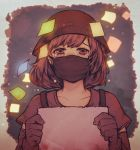 1girl brown_eyes brown_hair commentary_request crying crying_with_eyes_open detached_sleeves gloves guma.illustration hat highres hong_kong looking_at_viewer mask mouth_mask original sad shirt short_hair sign solo sticky_note surgical_mask t-shirt tears upper_body