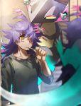1boy bangs black_shirt collarbone commentary_request dande_(pokemon) dragapult dreepy facial_hair gen_8_pokemon hair_over_one_eye highres holding kirin_(amenbon28) long_hair messy_hair one_eye_closed orange_eyes pokemon pokemon_(creature) pokemon_(game) pokemon_swsh purple_hair shirt