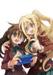 2girls absurdres blazer blonde_hair blue_eyes brown_eyes brown_hair buttons ga_geijutsuka_art_design_class green_ribbon green_skirt hand_on_another's_shoulder handheld_game_console highres jacket kiyuzuki_satoko long_hair long_sleeves marianne_van_tienen multiple_girls neck_ribbon official_art open_mouth playstation_portable pleated_skirt ponytail red_jacket ribbon round_eyewear school_uniform shirt skirt two_side_up white_background white_shirt yamabuki_school_uniform yamaguchi_kisaragi