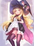 1girl bandaid bangs black_legwear black_panties blonde_hair blush bow brooch cape eyebrows_visible_through_hair fuyouchu gloves hair_between_eyes hat hat_bow jewelry lifted_by_self little_witch_nobeta long_hair looking_at_viewer nobeta panties purple_cape red_eyes skindentation skirt skirt_lift sleeveless smile solo string_panties thigh-highs underwear very_long_hair white_gloves witch_hat