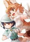 2girls :d animal_ears bangs belt black_belt black_hair blurry blurry_background bob_cut bolo_tie brown_eyes brown_hair brown_legwear brown_skirt captain_(kemono_friends) clenched_hand collared_shirt commentary dhole_(kemono_friends) dog_ears eyebrows_visible_through_hair foreshortening fur_collar gloves grey_headwear grey_shirt grey_shorts helmet highres kemono_friends_3 lain leaning_forward looking_to_the_side miniskirt multiple_girls open_mouth pith_helmet pleated_skirt shirt short_hair shorts simple_background skirt smile standing thigh-highs white_background white_gloves white_shirt