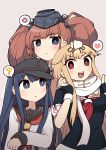 3girls ? akatsuki_(kantai_collection) anchor anchor_symbol anger_vein atlanta_(kantai_collection) bangs black_gloves black_sailor_collar blonde_hair blue_eyes blue_hair blush breasts brown_background brown_hair eyebrows_visible_through_hair fingerless_gloves flat_cap garrison_cap gloves hair_flaps hair_ornament hair_ribbon hairclip hat headgear heart highres kantai_collection long_hair long_sleeves multiple_girls open_mouth partly_fingerless_gloves red_eyes red_neckwear remodel_(kantai_collection) ribbon sailor_collar scarf school_uniform serafuku short_sleeves sidelocks simoyuki simple_background spoken_anger_vein spoken_heart spoken_question_mark twintails white_sailor_collar white_scarf yuudachi_(kantai_collection)