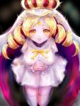 1girl blonde_hair breasts crown dress drill_hair eyebrows_visible_through_hair fingernails furrowed_eyebrows hands_clasped highres holy_mami interlocked_fingers juliet_sleeves long_hair long_sleeves looking_at_viewer magia_record:_mahou_shoujo_madoka_magica_gaiden magical_girl mahou_shoujo_madoka_magica medium_breasts nail_polish open_mouth own_hands_together puffy_sleeves ribbon solo thigh-highs tomoe_mami tsukigime_(fool_ehle) twin_drills veil white_dress white_legwear yellow_eyes yellow_nails yellow_ribbon zettai_ryouiki
