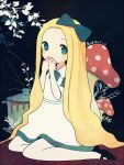 1girl alice_(wonderland) alice_in_wonderland apron ayu_(mog) black_footwear blonde_hair blue_apron blue_bow bow branch hair_bow hands_over_mouth hands_up long_hair looking_at_viewer mushroom pantyhose pot shoes signature sitting solo very_long_hair white_apron white_legwear