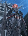 1girl ace_combat_7 armor ass_visible_through_thighs expressionless eyebrows_visible_through_hair from_below gun hair_between_eyes highres mecha_musume medium_hair orange_eyes personification redhead rifle rocket sky solo standing tom-neko_(zamudo_akiyuki) weapon wind wings xfa-27