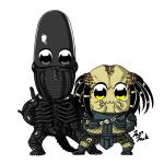 :3 alien alien_(movie) bkub_(style) black_eyes chibi jazzjack looking_at_viewer no_humans parody poptepipic pose predator predator_(movie) simple_background white_background xenomorph yellow_eyes