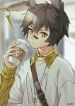 1boy absurdres alternate_costume animal_ears arknights artist_name ayerscarpe_(arknights) bandaid bandaid_on_nose bangs blurry blurry_background casual chinese_commentary coffee_cup commentary_request cup disposable_cup grey_hair hair_between_eyes hand_up heart highres holding holding_cup long_sleeves looking_at_viewer male_focus orange_eyes plaid rabbit_ears shao_(shaorouhong) shirt upper_body white_shirt