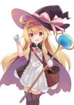 1girl :d absurdres ahoge bag bangs black_cape black_headwear black_legwear blonde_hair brown_bag cape cat commentary_request copyright_request dress eyebrows_visible_through_hair gloves hairband hat highres holding holding_staff long_hair looking_at_viewer open_mouth piliheros2000 pink_hairband pink_ribbon purple_cape red_eyes ribbon simple_background smile solo staff thigh-highs white_background white_dress white_gloves witch_hat