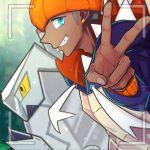 1boy blue_eyes blurry clenched_teeth commentary_request dark_skin dark_skinned_male depth_of_field duraludon earrings fingernails gen_8_pokemon gold_earrings grey_hair gym_leader hat jewelry kibana_(pokemon) looking_at_viewer orange_headwear pokemon pokemon_(creature) pokemon_(game) pokemon_swsh san_(oyakatasabuluaaa) smile teeth v viewfinder