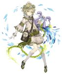 1boy ahoge bag belt bracelet chain flower_wreath full_body gloves green_eyes green_hair harp instrument jewelry ji_no looking_at_viewer navel official_art otoko_no_ko pinocchio_(sinoalice) sash sheer_clothes shoulder_bag sinoalice solo transparent_background white_gloves