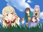 5girls blonde_hair blue_eyes blurry bow braid brown_eyes brown_hair camera clouds depth_of_field eyebrows_visible_through_hair eyepatch grass hairband hat hayasaka_mirei hood hoodie hoshi_shouko idolmaster idolmaster_cinderella_girls individuals jacket leaning_forward long_hair looking_at_another lying morikubo_nono multicolored_hair multiple_girls on_stomach outdoors pants purple_hair redhead ringlets sakuma_mayu school_uniform serafuku shibuya_rin short_hair skirt sky smile streaked_hair ushi