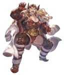 >:( beard blonde_hair boat chest cleavage_cutout coat d: draph facial_hair gender_request gloves granblue_fantasy granblue_fantasy_versus green_eyes horns ladiva long_hair mask minaba_hideo mustache official_art open_mouth pose red_gloves red_shirt shirt teeth watercraft white_coat wrestling_outfit