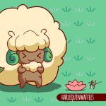 >_< animated animated_gif artist_name commentary creature english_commentary floating flower gen_5_pokemon grass harlequinwaffles leaf leaves_in_wind looping_animation no_humans pokemon pokemon_(creature) sheep smile solo whimsicott wind wind_lift