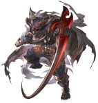 1boy armor armored_boots boots cape dark_skin dark_skinned_male draph full_body gauntlets glowing glowing_eyes granblue_fantasy granblue_fantasy_versus holding holding_weapon hood horns minaba_hideo official_art scythe torn_cape torn_clothes transparent_background vaseraga weapon