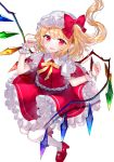 1girl :d arms_up bangs blonde_hair blush commentary contrapposto curled_fingers eyebrows_visible_through_hair fangs fingernails flandre_scarlet floating_hair folded_leg full_body hat hat_ribbon high_heels looking_at_viewer mary_janes mob_cap open_mouth pantyhose petticoat pointy_ears puffy_short_sleeves puffy_sleeves red_eyes red_footwear red_nails red_skirt red_vest ribbon sakipsakip shirt shoes short_sleeves simple_background skin_fangs skirt smile solo standing touhou twitter_username vest white_background white_headwear white_legwear white_shirt wings wrist_cuffs yellow_neckwear yellow_ribbon