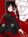1girl absurdres arm_up black_hair blue_eyes blush breasts cape closed_mouth corset doopiedoover eyebrows_visible_through_hair highres holding holding_weapon looking_at_viewer medium_breasts multicolored_hair red_cape redhead ruby_rose rwby short_hair smile solo two-tone_hair weapon