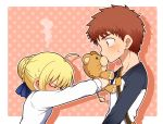1boy 1girl ahoge artoria_pendragon_(all) blonde_hair blush bow braid brown_hair chibi covering_face doll embarrassed emiya_shirou fate/stay_night fate_(series) french_braid green_eyes hair_bow head_bowed highres kiss kneeling polka_dot polka_dot_background saber short_hair steam surprised sweatdrop tatami upper_body