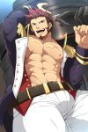 1boy abs absurdres artofkuroshinki bara beard belt blue_eyes brown_hair cannon chest collar epaulettes facial_hair fate/grand_order fate_(series) fringe_trim goatee gradient_hair highres huge_weapon jacket long_sleeves looking_at_viewer male_focus manly military military_uniform multicolored_hair muscle napoleon_bonaparte_(fate/grand_order) navel open_clothes open_jacket open_shirt pants pectorals scar sideburns smile solo tight unbuttoned uniform weapon white_pants