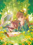 2girls absurdres awara_chikako book bow brown_eyes brown_hair cardigan flower flower_wreath forest fountain_pen ga_geijutsuka_art_design_class grass hair_flower hair_ornament head_on_hand head_rest head_wreath highres ink_bottle kiyuzuki_satoko long_hair long_sleeves lying multiple_girls nature neck_ribbon necktie notepad official_art on_back on_stomach pen ponytail ribbon round_eyewear school_uniform shirt striped striped_bow striped_ribbon tree vest white_shirt writing yamaguchi_kisaragi yellow_flower
