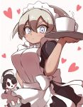 1boy 1girl ahoge alternate_costume apron bangs black_dress black_hair blush breasts closed_mouth commentary_request crossdressing cup dress grey_hair gym_leader hair_between_eyes heart highres holding holding_tray kurachi_mizuki looking_at_viewer maid maid_apron maid_dress maid_headdress mask mug onion_(pokemon) pokemon pokemon_(game) pokemon_swsh saitou_(pokemon) shiny shiny_hair short_hair short_sleeves tray white_background