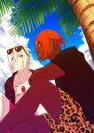 2boys abs alternate_costume alternate_hairstyle animal_print ashwatthama_(fate/grand_order) bangs blue_eyes chest clouds cloudy_sky dark_skin dark_skinned_male day eyewear_on_head fate/grand_order fate_(series) highres hukahire0313 jewelry karna_(fate) looking_at_viewer male_focus multiple_boys muscle open_clothes open_mouth orange_hair outdoors pale_skin palm_tree pants shirtless shorts sky tiger_print tree upper_body white_hair yellow_eyes