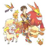 1boy adapted_costume arcanine avatar:_the_last_airbender avatar_(series) black_hair burn_scar crossover darmanitan darmanitan_(standard) fangs gen_1_pokemon gen_3_pokemon gen_5_pokemon gen_8_pokemon mojgon poke_ball poke_ball_(generic) pokemon pokemon_(creature) ponyta scar scorbunny shorts torchic zuko