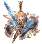 >:) 1girl armor armored_boots armored_dress blonde_hair blue_dress blue_eyes boots charlotta_fenia crown dress fighting_stance frills full_body gauntlets granblue_fantasy granblue_fantasy_versus harvin long_hair minaba_hideo official_art pointy_ears smile solo sword tall_crown transparent_background weapon