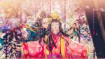 1boy 1girl absurdres bangs blunt_bangs blurry blurry_background blurry_foreground brown_hair chinese_commentary closed_eyes commentary_request depth_of_field eyeshadow facial_hair facing_viewer flower hair_ornament headpiece highres japanese_clothes kimono long_hair long_sleeves makeup mustache obi onmyoji pink_kimono pointy_ears resized sash say_hana smile tassel upscaled waifu2x wide_sleeves