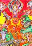 absurdres bat bat_emil blood doom doom_(game) doom_eternal doomguy fire highres illustration khan_maykr marauder_(doom_eternal) original red work