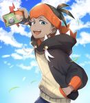 1boy :d aqua_eyes arm_up black_hair clouds commentary day dynamax_band earrings gen_4_pokemon gen_6_pokemon gloves goomy gym_leader hand_in_pocket hat highres holding holding_pokemon jewelry kibana_(pokemon) looking_down nameko_777 open_mouth orange_headwear outdoors partly_fingerless_gloves pokemon pokemon_(creature) pokemon_(game) pokemon_swsh rotom rotom_phone single_glove sky smile teeth tongue wristband