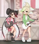 +_+ 2girls aori_(splatoon) bangs black_footwear black_hair black_shorts brown_eyes closed_mouth commentary_request cousins domino_mask earrings foot_up gradient_hair green_hair green_jacket grey_hair guitar half-closed_eyes highres holding holding_instrument hotaru_(splatoon) instrument jacket jewelry light_frown long_hair long_sleeves looking_at_viewer mask medium_hair mole mole_under_eye multicolored_hair multiple_girls music no_headwear no_socks open_clothes open_jacket partially_unzipped pink_jacket playing_instrument pointy_ears redhead shirt shoes short_shorts shorts sitting smile splatoon_(series) standing stool sukeo_(nunswa08) swept_bangs tentacle_hair very_long_hair white_footwear white_shirt