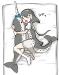 1girl black_bow blowhole blue_bow blue_neckwear bow commentary_request dolphin_tail dress grey_dress grey_hair hair_bow heart hug kemono_friends multicolored_hair narwhal_(kemono_friends) neckerchief no_shoes numero_509 on_bed open_mouth puffy_short_sleeves puffy_sleeves sailor_collar sailor_dress short_hair short_hair_with_long_locks short_sleeves sleeping socks solo stuffed_animal stuffed_toy two-tone_dress white_hair white_legwear