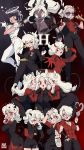 6+girls :d ;d \m/ animal_ears armband artist_logo artist_name azazel_(helltaker) beelzebub_(helltaker) black_gloves black_hair black_horns black_neckwear black_pants black_skirt black_suit black_tail black_vest bluethebone bottle cerberus_(helltaker) claws commentary cup dark_skin demon_girl demon_horns demon_tail dog_ears double_\m/ drinking drinking_glass english_commentary eyebrows_visible_through_hair fang fingerless_gloves food fork formal glasses gloves glowing glowing_eyes grin hair_over_one_eye hair_ribbon halo heart heart-shaped_pupils helltaker highres horns judgement_(helltaker) justice_(helltaker) long_hair long_sleeves low-tied_long_hair lucifer_(helltaker) malina_(helltaker) modeus_(helltaker) multiple_girls necktie oldschool one_eye_closed open_mouth pancake pandemonica_(helltaker) pants pantyhose pencil_skirt red_eyes red_gloves red_legwear red_shirt red_suit retro ribbon shirt short_hair short_sleeves skirt smile smoking sparkle star_(symbol) suit sunglasses symbol-shaped_pupils tail tsuki_ni_kawatte_oshioki_yo v-shaped_eyebrows vest wavy_hair white_gloves white_hair white_horns white_pants white_ribbon white_shirt wine_glass zdrada_(helltaker)