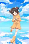 1girl :d akagi_miria bangs bare_legs boots brown_hair child clouds cloudy_sky coat eyebrows_visible_through_hair full_body hair_ornament highres holding holding_umbrella hood horizon idolmaster idolmaster_cinderella_girls leg_up light_blush looking_at_viewer open_mouth raincoat reflection rubber_boots short_hair sky smile solo transparent transparent_umbrella twintails umbrella yamada_yamao yellow_coat yellow_footwear