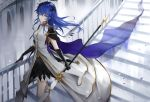 1girl alternate_costume arknights bangs black_gloves blue_eyes blue_hair breasts cape commentary_request dress eyebrows_visible_through_hair feet_out_of_frame gloves hair_between_eyes highres holding holding_staff horns long_hair looking_at_viewer medium_breasts meng_ziya mostima_(arknights) partial_commentary railing smile solo staff stairs standing white_dress