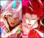 2boys abs alternate_costume alternate_hairstyle angry arjuna_alter bangs blue_eyes chest_tattoo dark_skin dark_skinned_male earrings fate/grand_order fate_(series) fighting_stance glowing_horns hair_between_eyes heterochromia highres horns hukahire0313 jewelry karna_(fate) lance long_hair looking_at_viewer male_focus multiple_boys open_mouth pale_skin polearm redhead shiny shiny_hair shirtless split_screen tail tattoo toned toned_male upper_body weapon white_hair yellow_eyes