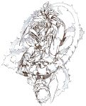 1boy ahoge arm_up flower greyscale hatching_(texture) highres male_focus monochrome petals plant rockman rose salamanshe simple_background sketch solo thorns vines white_background
