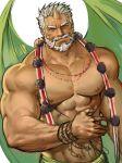 1boy abs bara beard character_request copyright_request facial_hair highres horns jang_ju_hyeon looking_at_viewer male_focus muscle mustache old_man rope shirtless simple_background single_horn solo upper_body white_background white_hair wings
