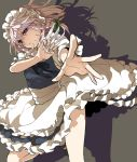 1girl apron bangs black_footwear blue_shirt blue_skirt bow braid closed_mouth floating_hair frilled_skirt frills green_bow grey_background hair_between_eyes hair_bow holding holding_knife izayoi_sakuya knife knives_between_fingers long_hair maid_headdress mary_janes massuru medium_skirt outstretched_arm outstretched_hand shadow shirt shoes short_sleeves silver_hair skirt socks solo standing standing_on_one_leg touhou twin_braids violet_eyes waist_apron white_apron white_legwear white_sleeves