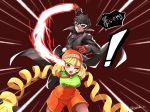 1boy 1girl amamiya_ren arms_(game) beanie black_hair black_jacket blonde_hair breasts emphasis_lines gameplay_mechanics green_eyes hat highres jacket mask mask_removed min_min_(arms) one_eye_closed open_mouth persona persona_5 red_background red_eyes shorts smile super_smash_bros. takobe