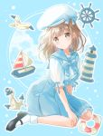 1girl :o anchor bird black_footwear blue_background blue_neckwear blue_sailor_collar blue_skirt boat bow bowtie brown_eyes clouds commentary hair_ornament hairclip hand_on_own_knee hat head_tilt highres hoshiibara_mato lifebuoy light_brown_hair lighthouse looking_at_viewer mary_janes medium_hair ocean original outline puffy_short_sleeves puffy_sleeves sailboat sailor_collar sailor_hat seagull ship's_wheel shirt shoes short_sleeves sitting skirt socks solo summer wariza watercraft white_legwear white_shirt